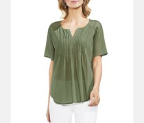 Vince Camuto Crinkled Pintuck Top, Canopy Green