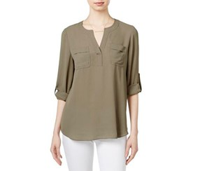 Maison Jules Women's Pullover Adjustable Sleeves Pullover Top, Olive