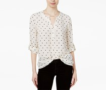 Maison Jules Women's Polka-Dot Roll-Tab Blouse, White/Black