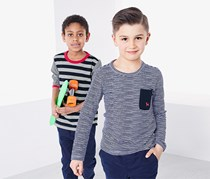 Kid's 2 Long-Sleeved Tops, Red/White/Grey/Blue