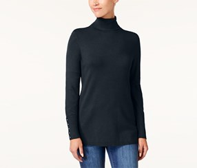 Jm Collection Women's Rivet-Detail Turtleneck Sweater, Navy