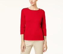 Karen Scott Women's Cotton Zip-Shoulder Sweater, Red