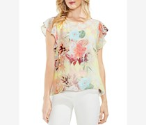 Vince Camuto Women's Faded Bloom Chiffon Overlay Blouse, Lemon Cream