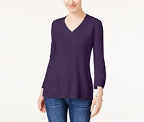 Karen Scott Women's V-Neck Sweater, Purple