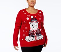 Karen Scott Plus Size Polar Bear Sweater, Red Holiday