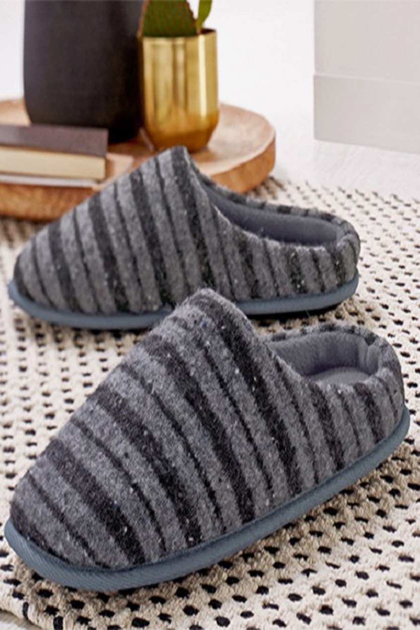 Men's Slippers, Mottled Gray