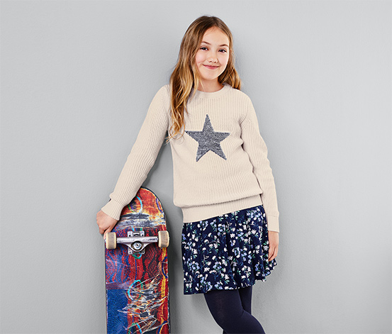 Girl's Heavy Knit Sweater With Reversible Sequins, White Cream