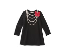Kate spade new york Girl's Pearl-Necklace-Print Dress, Black