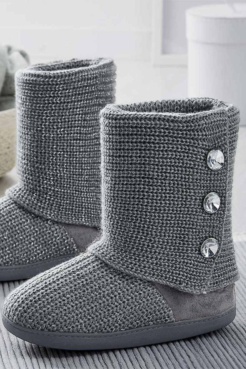 Knitted Slipper Boots, Grey