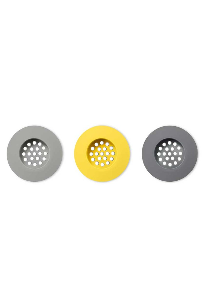 Silicone Sink Strainers Set of 3, Yellow/Grey