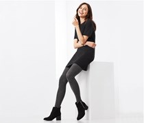 Women's 2 Pairs Of Tights, Black/Grey