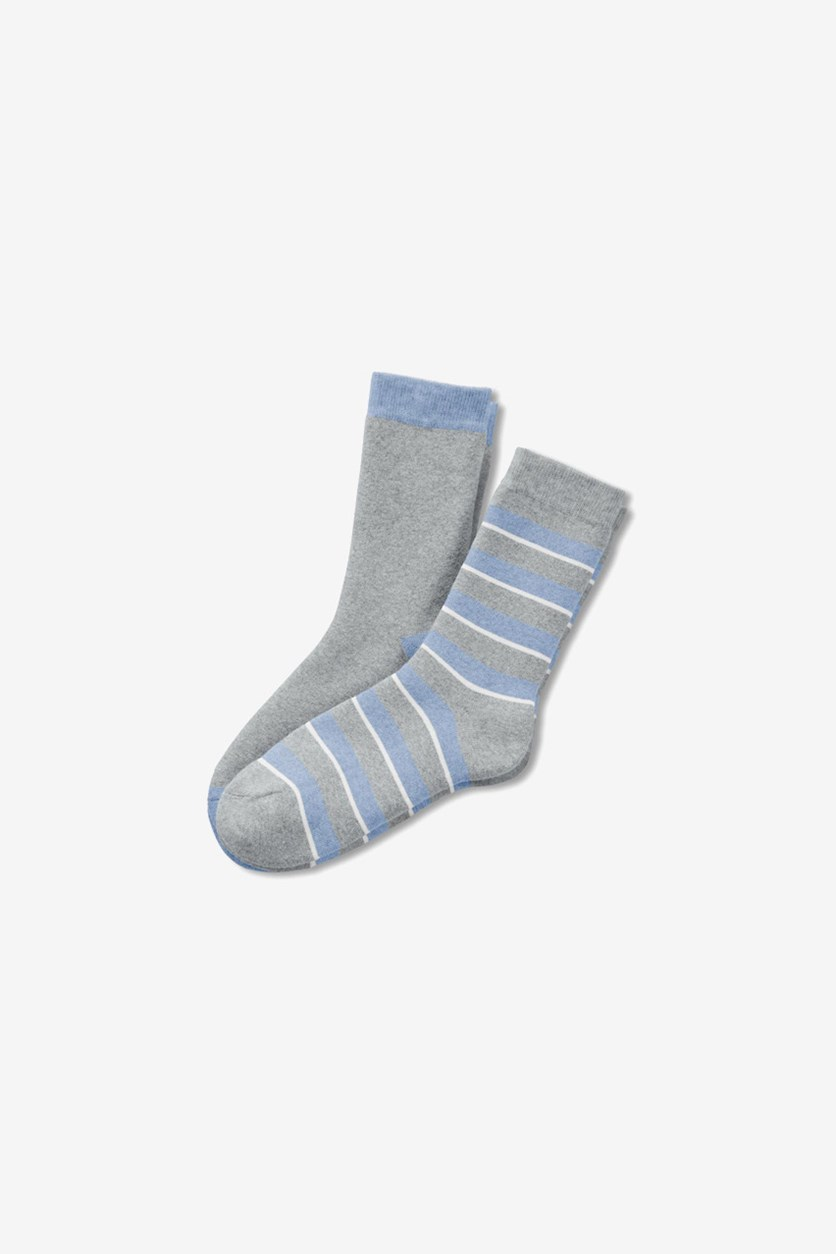 Boy's Striped 2 Pairs of Soft Socks, Gray