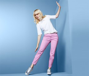 Women's Trousers, Pink/White