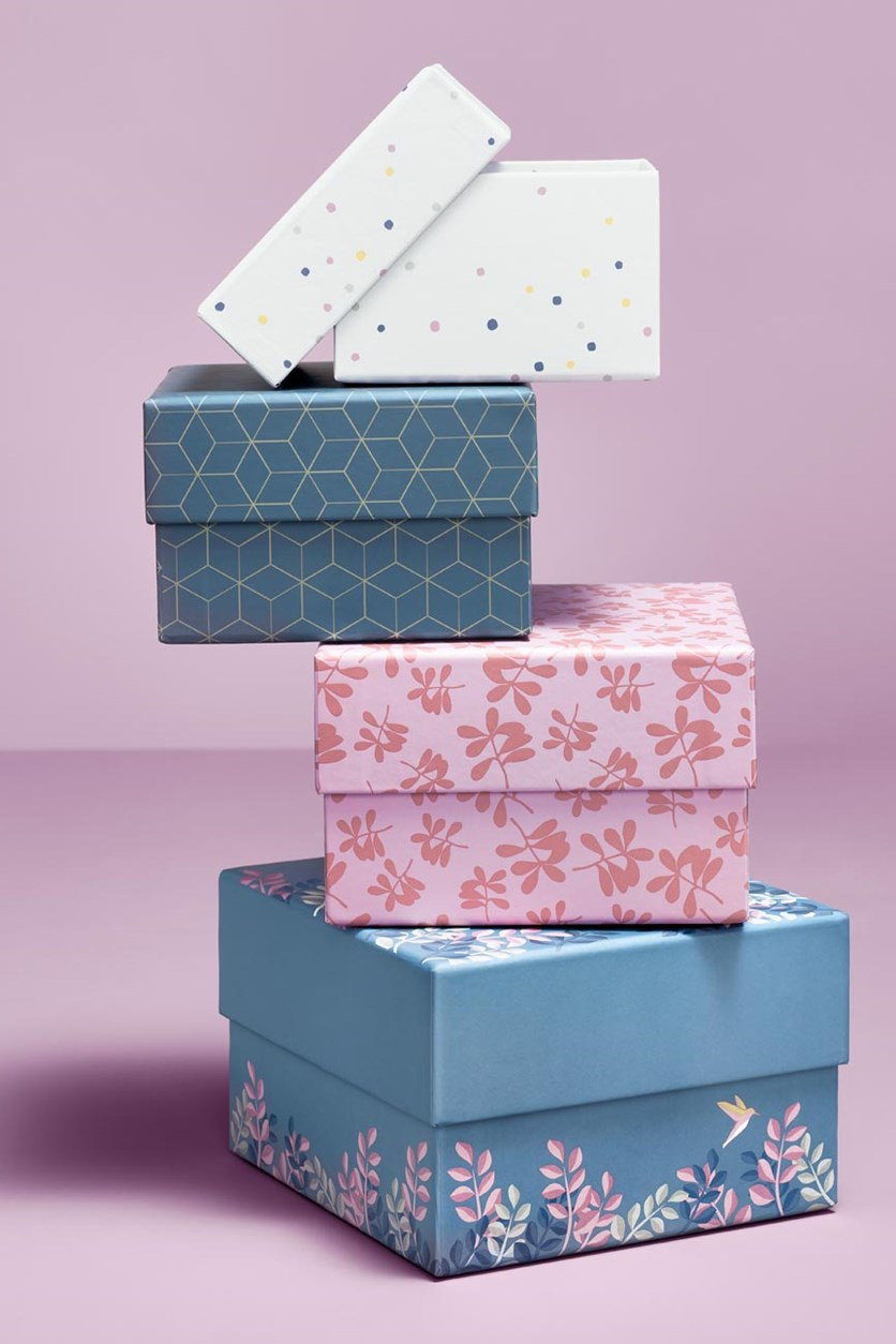 Set Of Boxes, Navy/Pink/Wite/Blue