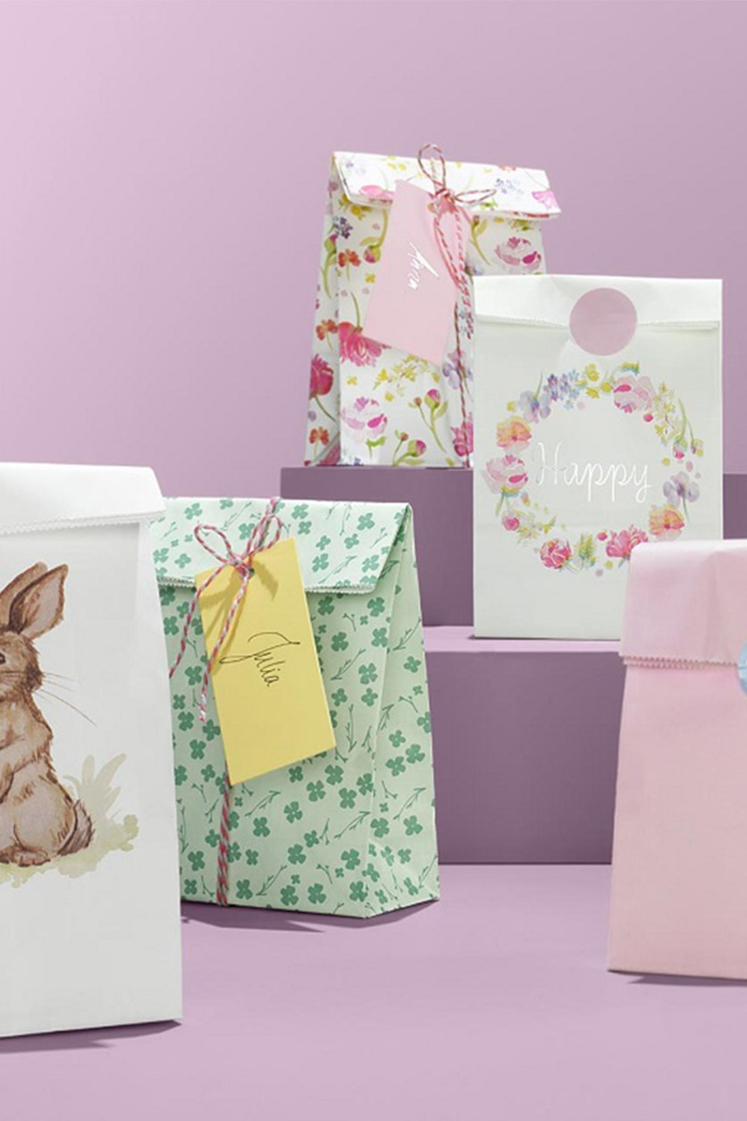 Set Of Gift Bags, Pink/White/Green