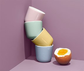Egg Cups Set of 4, Pink/Yellow/Green/Purple