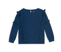 AG Adriano Goldschmied Girl's Ruffled Chambray Top, Navy