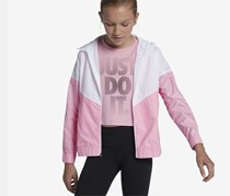 Nike Big Girl's Sportswear Windrunner Hooded Jacket, Pink/White