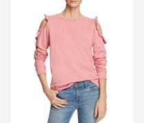 Alison Andrews Women's Cold Shoulder Ruffled Sweatshirt, Pink