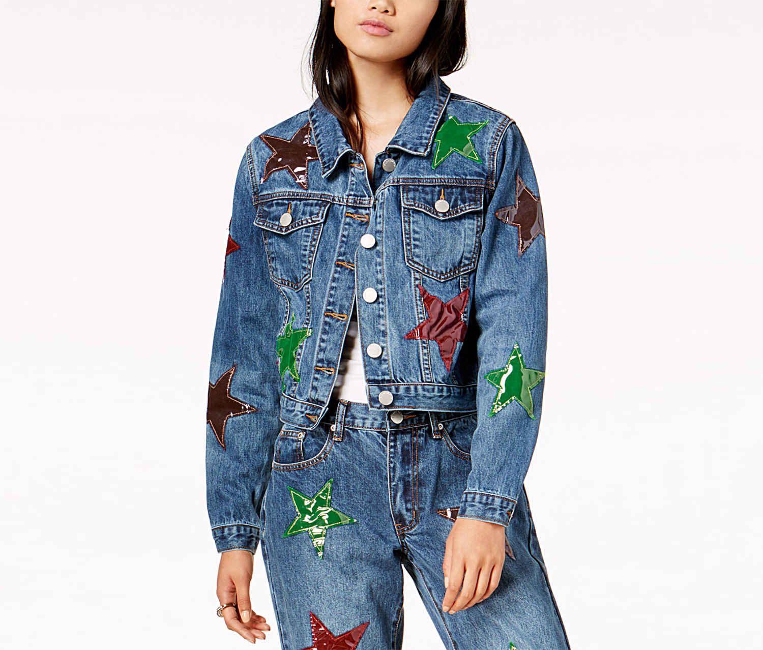 Glamorous Cotton Patched Trucker Jacket, Blue