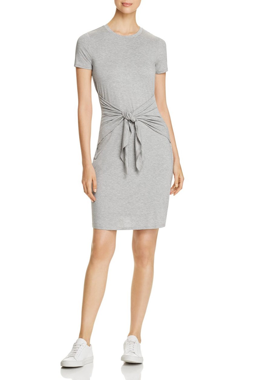 Women's Tie Front Knee-Length Casual Dress, Grey
