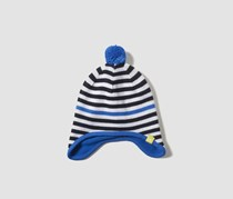 Kid's Unisex Stripy Hat, Blue/White/Black