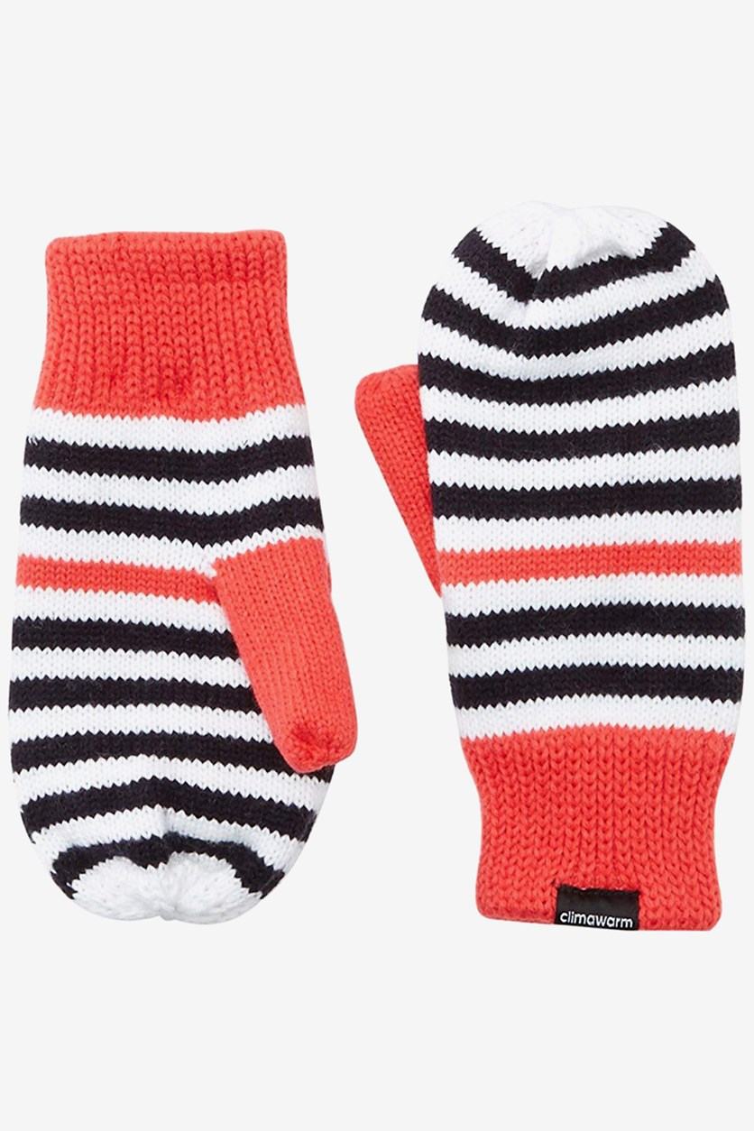 Stripy Mittens Kid's Gloves, Red/White/Black