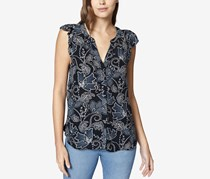 Sanctuary Women's Printed Ruffle Sleeve Button-Down Top, Modern Desert/Wild Flower
