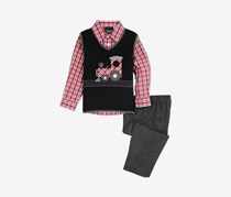 Baby Boys 3-Pc. Train Sweater Vest, Plaid Shirt & Pants Set, Black/Gray/Red