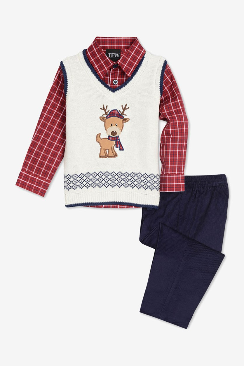 Toddlers Boys 3-Pc Sweater Vest & Pants Set, Red/Cream/Indigo
