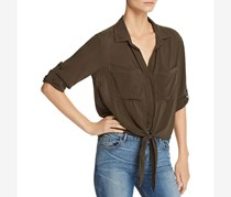Bella Dahl Women's Tie Front Cropped Pleated Blouse, Olive