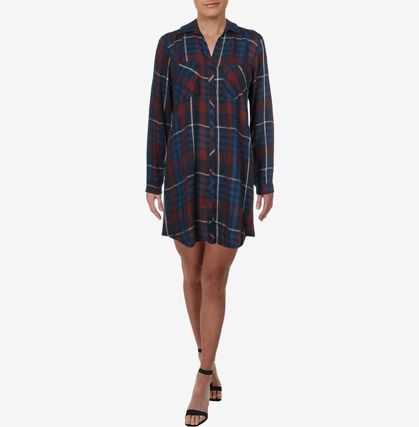 Women's Plaid Frayed Shirt dress, Aurora Red