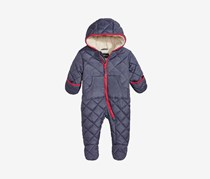 Baby Boys Hooded Quilted Footed Pram, Denim Blue