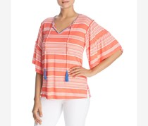 Womens Striped Short Sleeves Blouse Plus Size, Coral Stripe