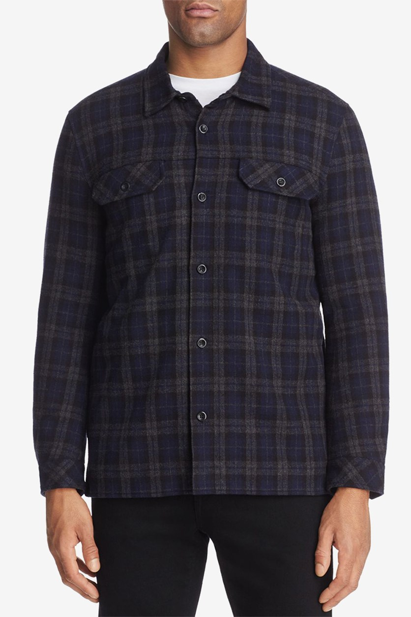Men's Fall Plaid Shirt Jacket, Navy/Grey