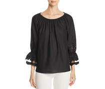 Le Gali Women's Charly Eyelet Detail Top, Black