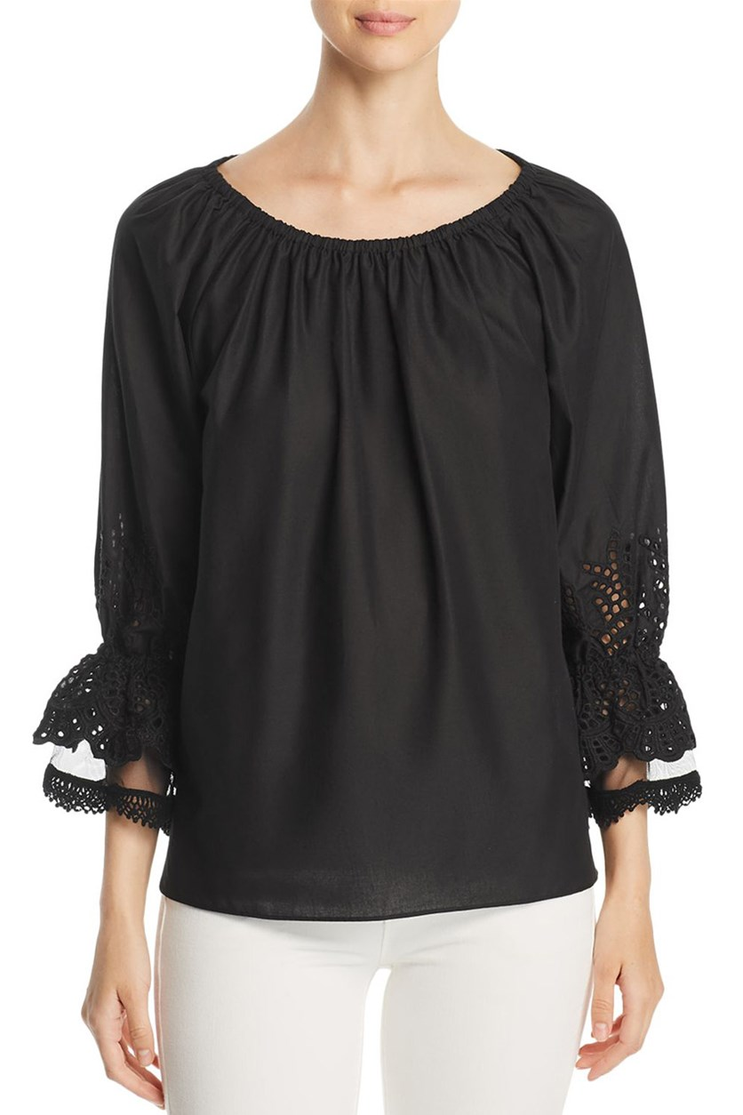 Women's Charly Eyelet Detail Top, Black
