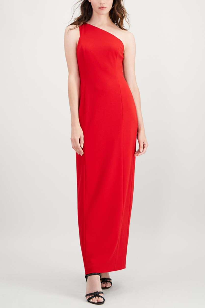 Women's Slit One-Shoulder Gown, Red