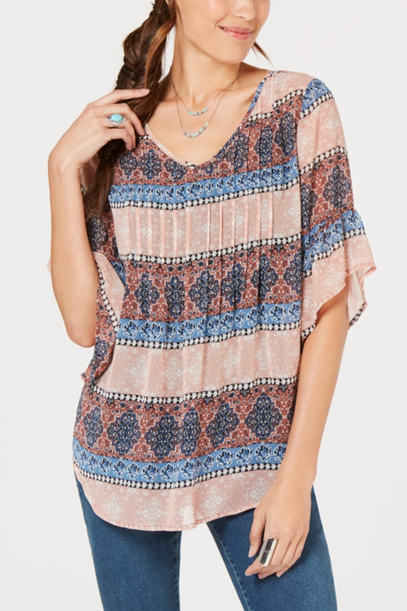 Women's Pintuck Top, Medallion Print