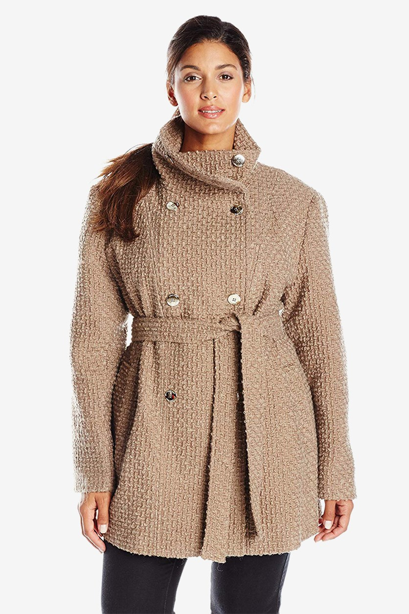 Plus Size Double-Breasted Basketweave Coat, Oatmeal