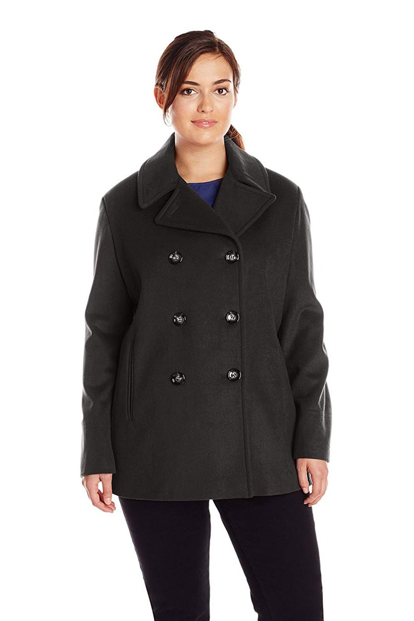 Women's Plus-Size Double-Breasted Coat, Black