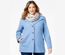 Calvin Klein Plus Size Wool-Blend Single-Breasted Peacoat, Blue