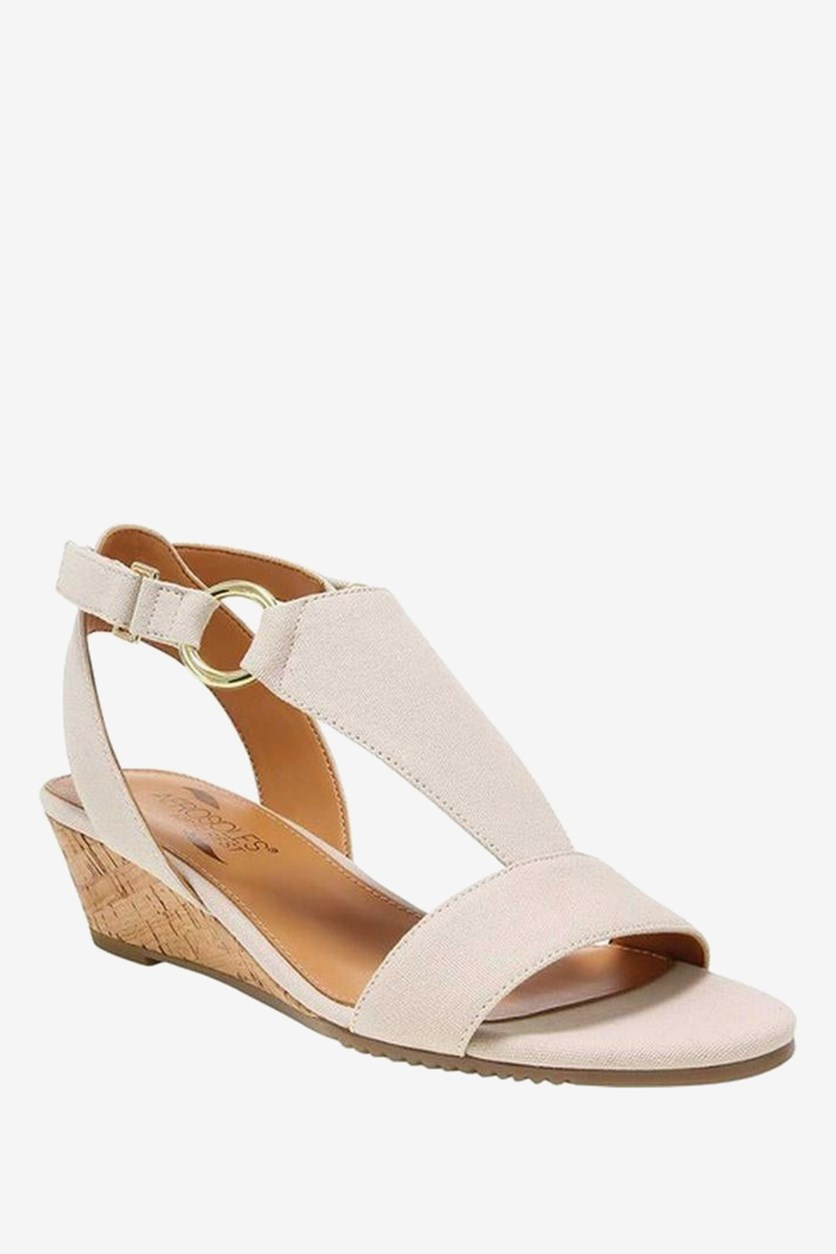 Creme Brulee Wedge Sandals, Natural