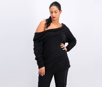 Women's Off Shoulder Sweater, Black