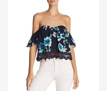 Cotton Candy La Women's Lace Off-the-Shoulder  Blouse, Navy Floral