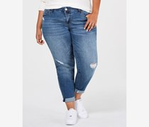 Celebrity Pink Trendy Plus Size Ripped Jeans, Blue
