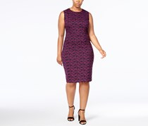 Calvin Klein Plus Size Jacquard Sheath Dress, Aubergine