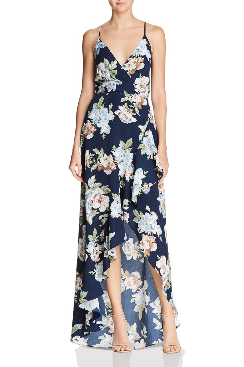 Women's Floral Ruffled Maxi Dress, Navy