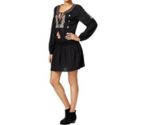Sanctuary Women's Freya Peasant Embroidered Casual Dress, Black