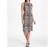 Donna Karan Sleeveless  Animal Print Sheath Dress, Brown/Gray